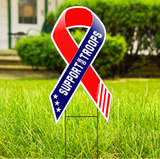 "Support Our Troops Large 22""x 12"" Outdoor Ribbon Shaped Yard Sign"