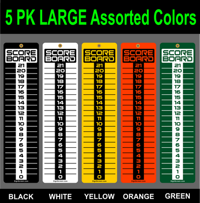 SCOREBOARD-Washers-Cornhole-Horseshoes-Bocce Ball LARGE 5 Pack Multi Colors 6x23