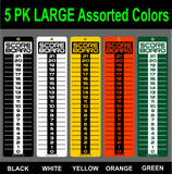 LARGE 5 Pack Multi Colors 6x23 SCOREBOARD-Washers-Cornhole-Horseshoes-Bocce Ball