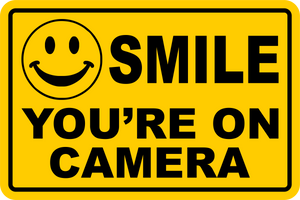 SMILE YOU'RE ON CAMERA Yellow Business Security Sign CCTV Video Surveillance FREE SHIPPING
