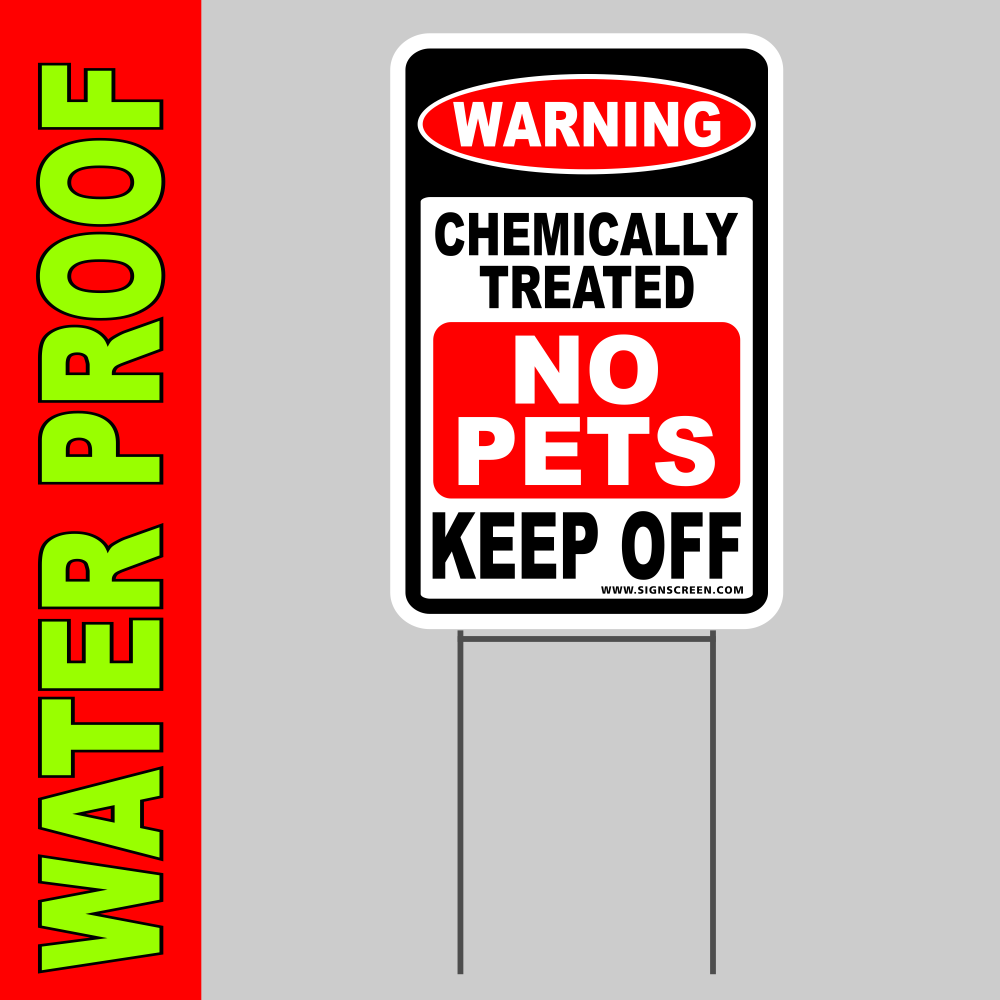 "PESTICIDE CHEMICAL TREATED YARD SIGN 8""X12"" Plastic Coroplast Sign with Stake"