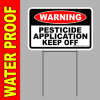 "PESTICIDE APPLICATION YARD SIGN 8""X12"" Plastic Coroplast Sign with Stake"