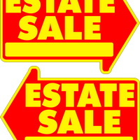 Estate Sale Yard Sign Large Yellow FREE SHIPPING