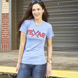 Local Revere Texas Rangers Texas Baseball Never Ever Quit Sport Arlington Vintage Shirt Blue Womens