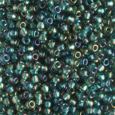 11/0 Color Lined Crystal Prairie Green (Toho)
