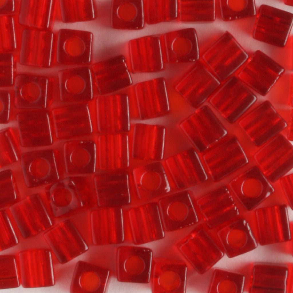 3mm Cube Transparent Red