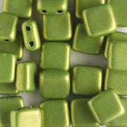 2 Hole Tile Metallic Lime (CzechMates)