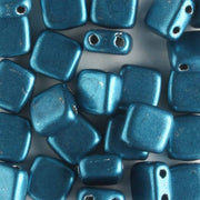 2 Hole Tile Metallic Turquoise (CzechMates)
