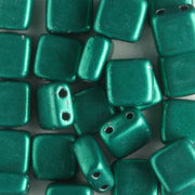 2 Hole Tile Metallic Emerald (CzechMates)