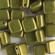 2 Hole Tile Metallic Pea Green (CzechMates)