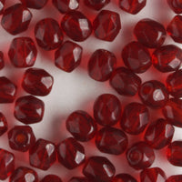 4mm Round Fire Polish Garnet Red