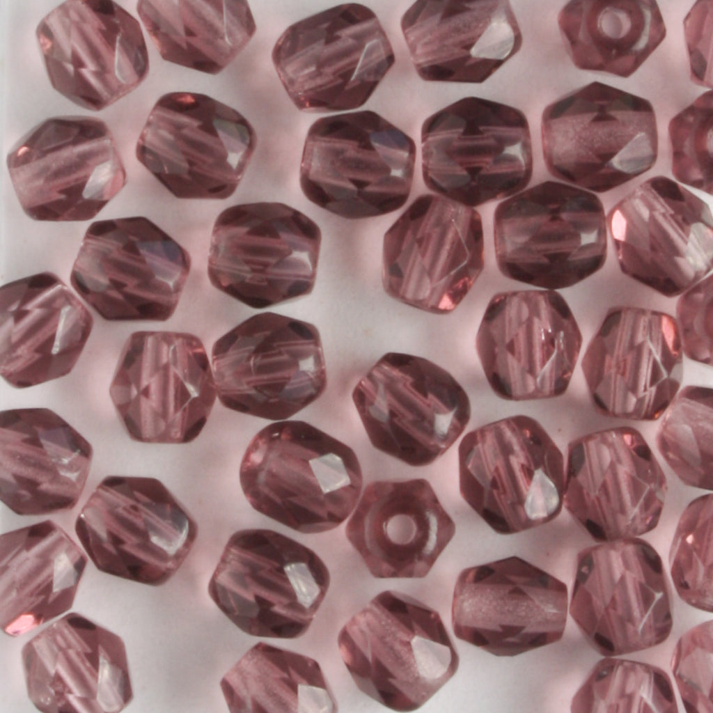 4mm Round Fire Polish Dark Amethyst AB