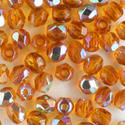 4mm Round Fire Polish Amber AB