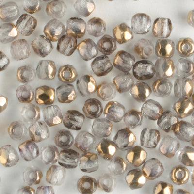 2mm Round Firepolish Clear Semi Gold
