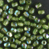 3mm Round Fire Polish Olive Green AB
