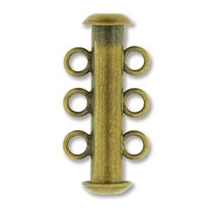 3 Strand Slide Clasp Antique Brass