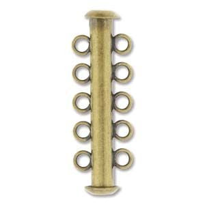 5 Strand Slide Clasp Antique Brass