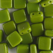 2 Hole Tile Opaque Olive (CzechMates)