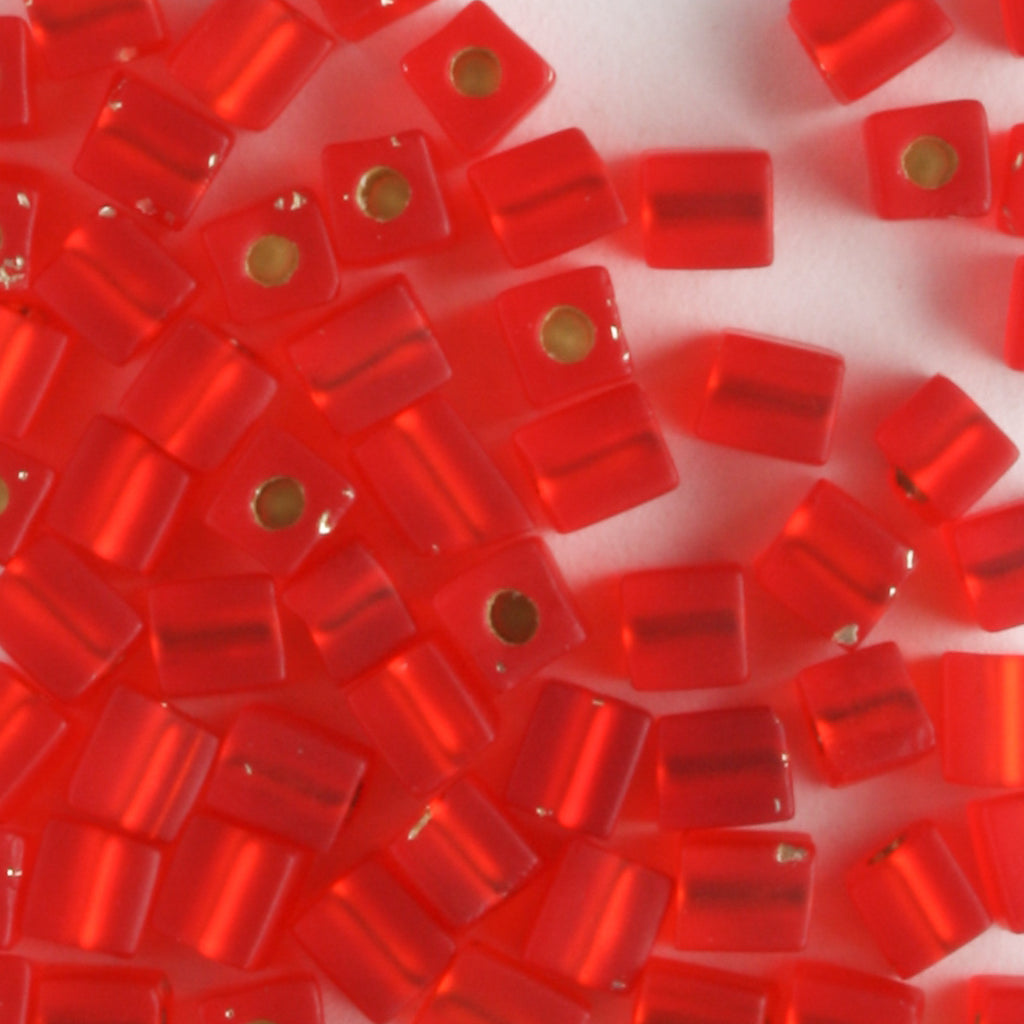 3mm Cube Silver Lined Flame Red