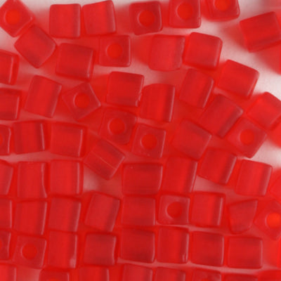 3mm Cube Matte Transparent Red