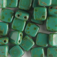 2 Hole Tile Persian Turquoise Picasso (CzechMates)