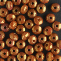 2x3mm Rondell Fire Polish Caramel Cinnamon