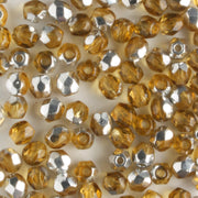 3mm Round Fire Polish Amber Silver
