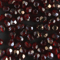 3mm Round Fire Polish Ruby Red Valentinite