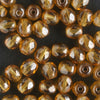 4mm Round Fire Polish Light Amber Luster