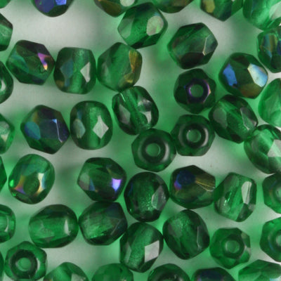 4mm Round Fire Polish Emerald Azuro