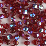 3mm Round Fire Polish Garnet Red AB
