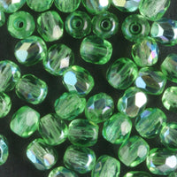 4mm Round Fire Polish Spring Green AB