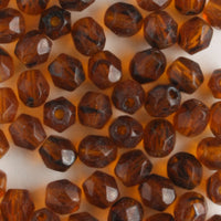 4mm Round Fire Polish Dark Brown Tortoise