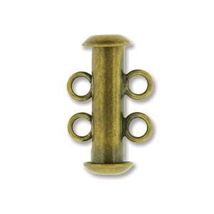 2 Strand Slide Clasp Antique Brass