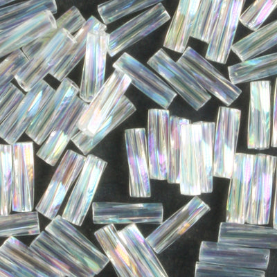6mm Twisted Bugle Transparent Rainbow Crystal (Miyuki)