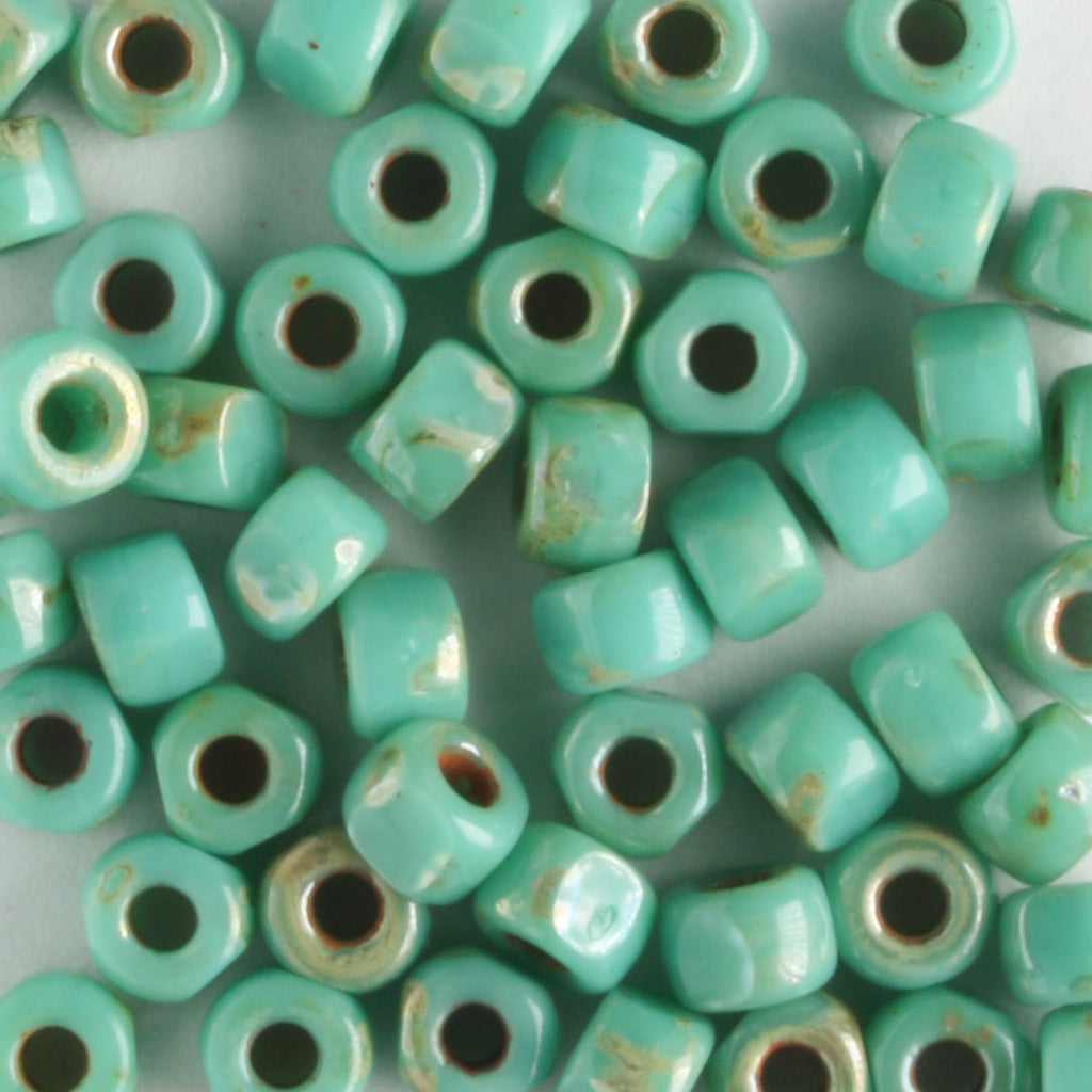 6/0 3-Cut Opaque Turquoise Green Picasso (Matubo)