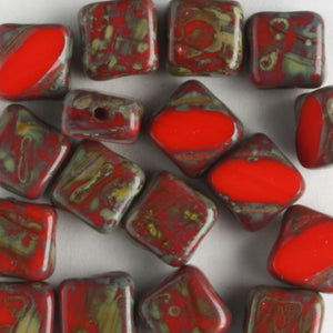 Silky Beads Opaque Red Travertine
