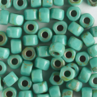 6/0 3-Cut Opaque Turquoise Green Travertine (Matubo)