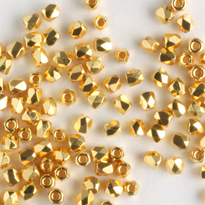 True 2mm Round Fire Polish Crystal Gold Plate