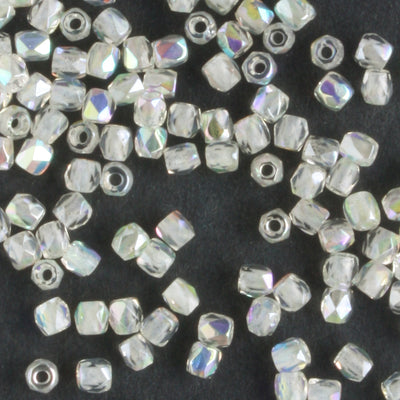 True 2mm Round Fire Polish Crystal Green Rainbow