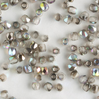 True 2mm Round Fire Polish Crystal Graphite Rainbow