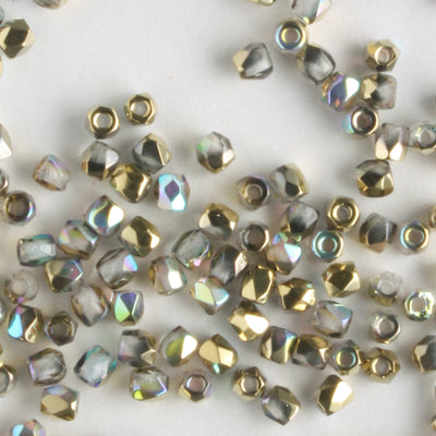 True 2mm Round Fire Polish Crystal Gold Rainbow