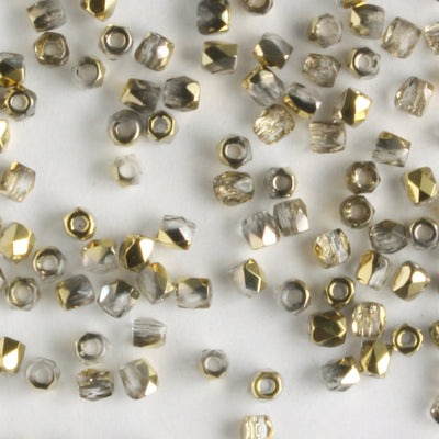 True 2mm Round Fire Polish Crystal Amber