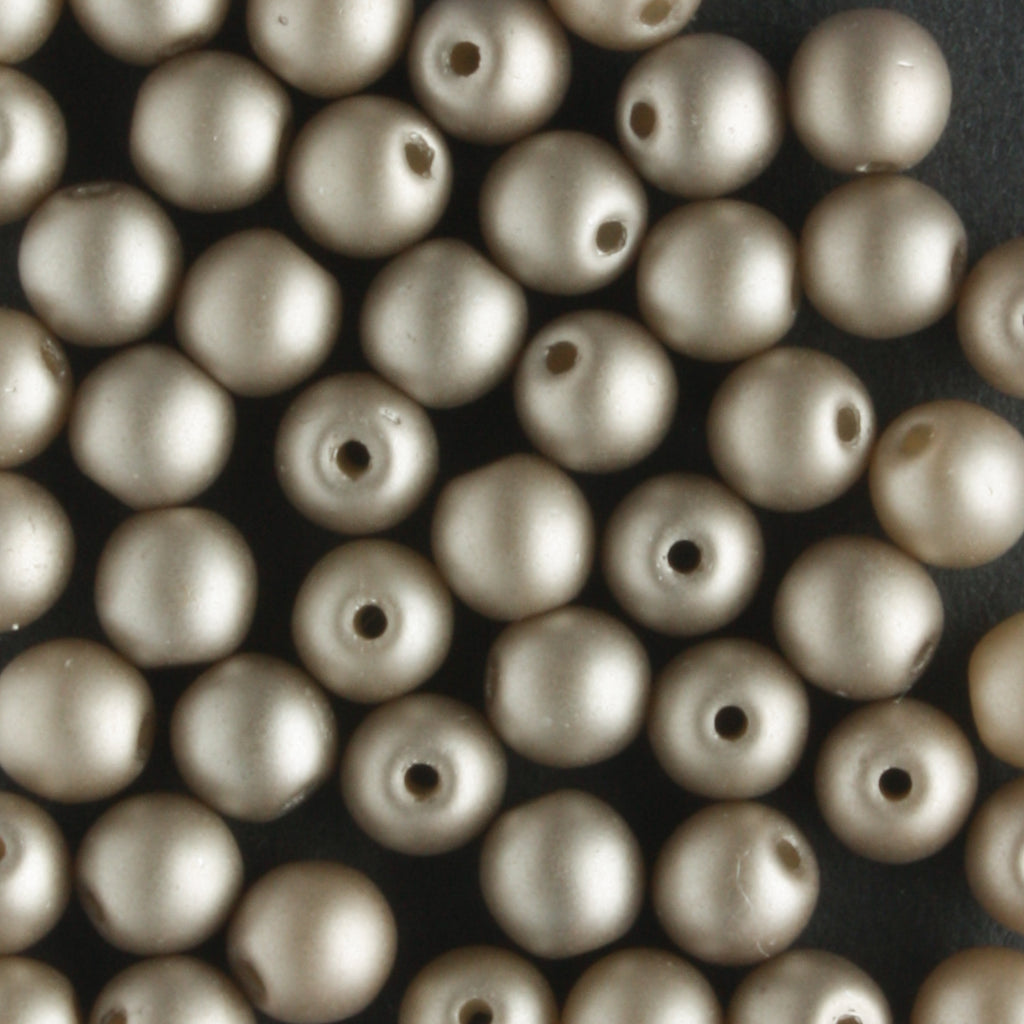 4mm Round Glass Pearls Matte Brown Sugar