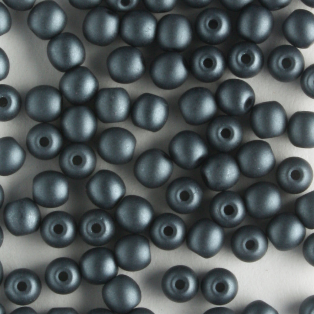 3mm Round Glass Pearls Matte Charcoal