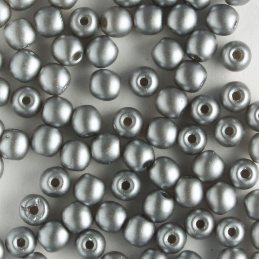 3mm Round Glass Pearls Silver
