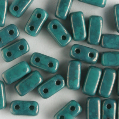 2 Hole Brick Persian Turquoise Moon Dust (CzechMates)