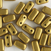 2 Hole Brick Matte Metallic Aztek Gold (CzechMates)