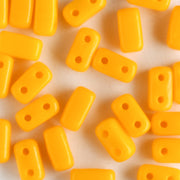2 Hole Brick Opaque Sunflower Yellow (CzechMates)