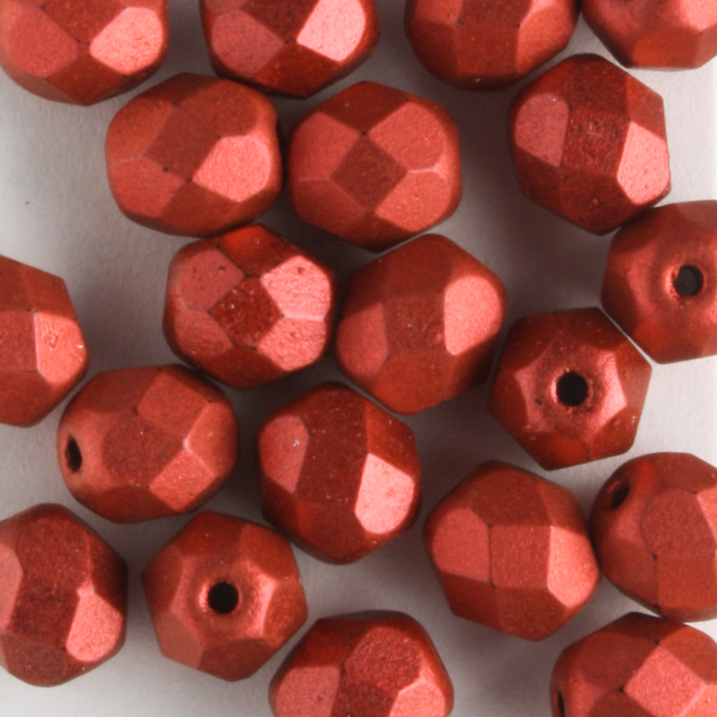6mm Round Fire Polish Matte Metallic Lava
